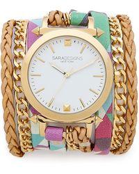 Sara Designs - Printed Wrap Watch - Geo Multi - Lyst