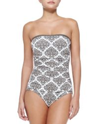 Tommy Bahama Printed Bandeau One-Piece Swimsuit W/ Shirring - Lyst