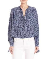 Rebecca Taylor | Tie-detail Paisley Silk Blouse | Lyst
