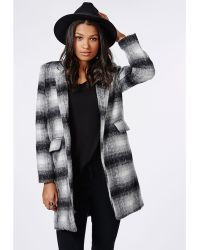 Missguided Checked Tailored Coat Grey - Lyst