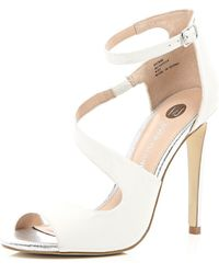 River Island White Asymmetric Wrap Front Sandals - Lyst