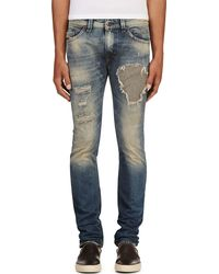 Diesel Blue Patched and Faded Thavar L32 Jeans - Lyst