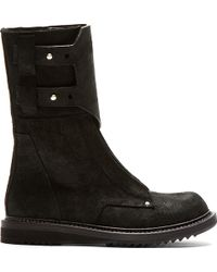 Rick Owens Black Suede New Army Boots - Lyst