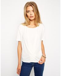 Asos Top in Crepe with Pleat Detail - Lyst