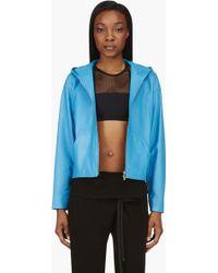 T By Alexander Wang Blue Matte Lambskin Hooded Jacket - Lyst
