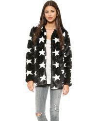 Re:named Star Faux Fur Coat - Black/White - Lyst