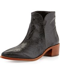 Vc Signature Reinah Crackled Side-Zip Bootie - Lyst