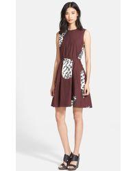 MSGM Pineapple Print Full Skirt Dress - Lyst