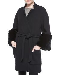 Sally Lapointe Fur-Trimmed Double-Faced Wrap Coat - Lyst