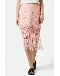 Topshop Women'S Fringe Lace Pencil Skirt - Lyst