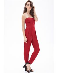 Forever 21 Strapless Pleated Jumpsuit - Lyst
