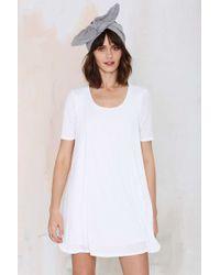 Nasty Gal Full Swing Ribbed Dress white - Lyst