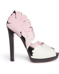 Alexander McQueen Lotus Flower Appliqué Peep Toe Pumps - Lyst