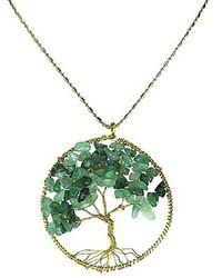 Aeravida - Green Indian Jade Stone Eternal Tree Of Life Brass Long Necklace - Lyst