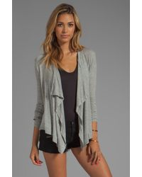 Dolan - 2x1 Rib Drape Neck Cardigan in Gray - Lyst