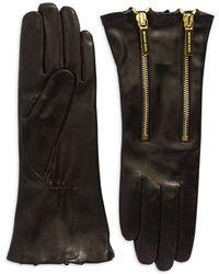Michael Kors Double Zip Leather Gloves - Lyst