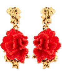 Oscar de la Renta Red Coral-Motif Clip-On Earrings - Lyst