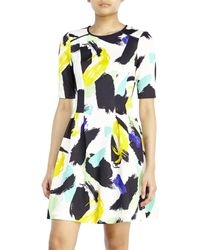 Vince Camuto Ivory Printed Skater Dress - Lyst