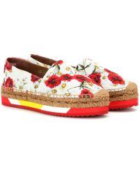 Dolce & Gabbana | Poppy-Print Flatform Espadrilles | Lyst