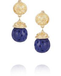 Kenneth Jay Lane Goldplated Lapis Lazuli Clip Earrings - Lyst