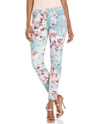 7 For All Mankind Blue Floral Print Skinny Jeans - Lyst
