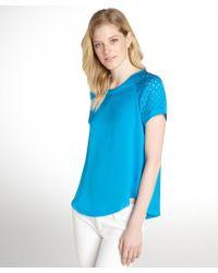 Rebecca Taylor Azul Blue Lasercut Short Sleeve Top - Lyst