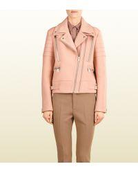 Gucci Asymmetric Zip Wool Biker Jacket - Lyst
