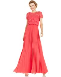 Xscape Short-Sleeve Lace Popover Pleat Gown - Lyst