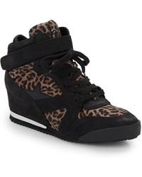 Ash Jazz Leopard Print Leather Wedge Sneakers - Lyst