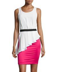 Love Moschino Sleeveless Colorblock Peplum Dress - Lyst