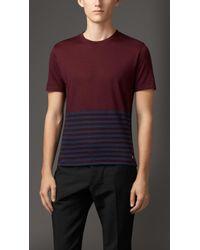 Burberry Wool Cotton Striped T-shirt - Lyst