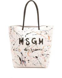 MSGM Tote Bag  White - Lyst