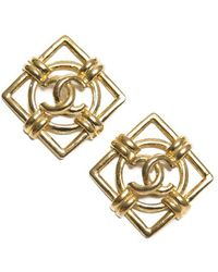Chanel Pre-Owned Cc Square Vintage Clip On Earrings - Lyst