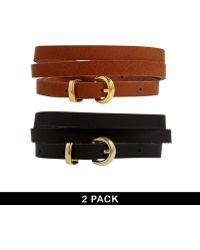 Asos 2 Pack Blacktan Skinny Waist and Hip Leather Belt - Lyst