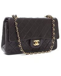 Chanel Black Lambskin Medium Quilted Flap Bag - Lyst