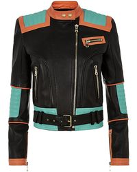 Balmain Colour Block Biker Jacket - Lyst