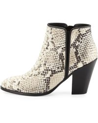 Giuseppe Zanotti Silver-tipped Python-embossed Leather Bootie - Lyst