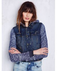 Free People Womens Knit Hooded Denim Jacket - Lyst