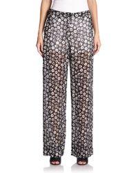 Maison Margiela Floral-Print Sheer Trousers - Lyst