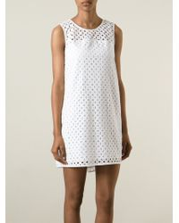 P.A.R.O.S.H. Broderie Anglaise Shift Dress - Lyst