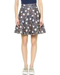 Cynthia Rowley | Print Flared Skirt - Gilded Brocade Teal | Lyst