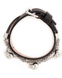 Alexander McQueen | Skull Chain Double Wrap Leather Bracelet | Lyst
