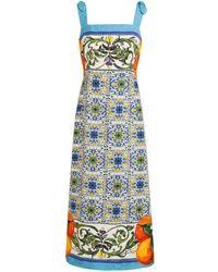 Dolce & Gabbana Blue Mojolica Dress - Lyst
