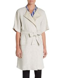 Max Mara Elbow-Sleeve Belted Linen Duster Coat - Lyst
