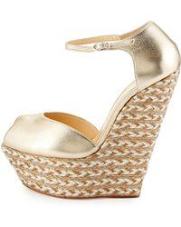 Giuseppe Zanotti Metallic Leather Peep-Toe Wedge gold - Lyst