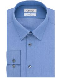 Calvin Klein Steel Non-iron Slim-fit Clear Water Pinpoint Performance Dress Shirt - Lyst