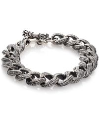King Baby Studio Small Feather Carved Link Bracelet silver - Lyst