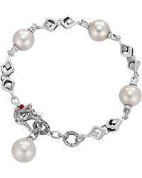 John Hardy Naga Silver Bracelet with Pearl  Black Sapphire - Lyst