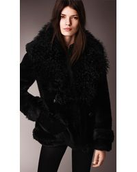 Burberry Oversize Contrast Shearling Pea Coat - Lyst