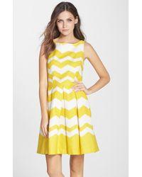 Taylor Dresses Chevron Pleated A-Line Dress - Lyst